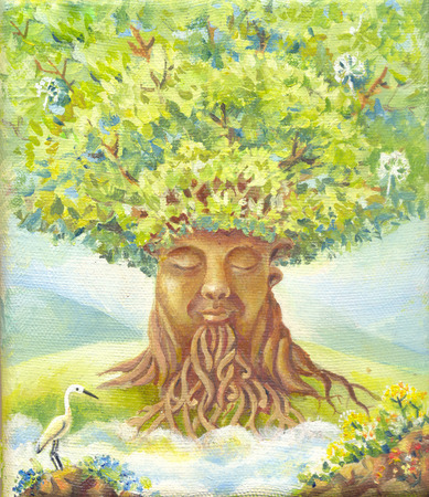 tree of wisdom, oil painting, suit for poster, print, wallpaper, backgroung, as illustration. Fantasy picture. Fantastic illustration. Magic story. Hand drawn sketch Stock Photo