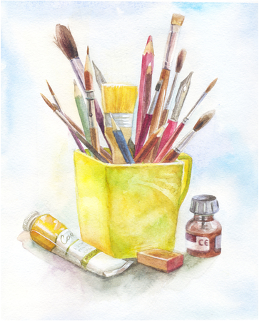 paint tube: Stilllife with art materials in watercolor. yellow mug, brush, paint, tube. Concept of art