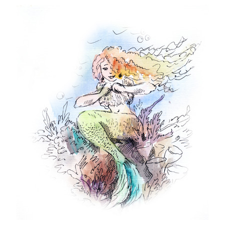 unreal: mermaid watercolor painting, sketch of siren, drawing with girl in the sea