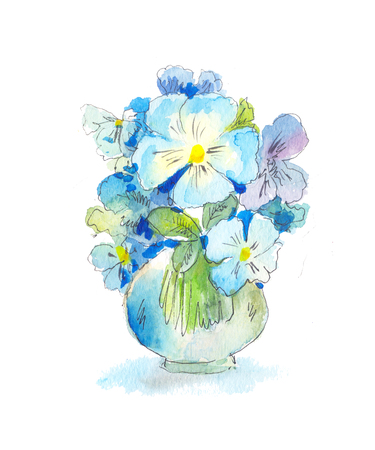 Bouquet Of Blue Wild Flowers In Watercolor In A Vase Stock Photo