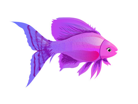 Cartoon purple fish. Sketch, illustration in watercolor style