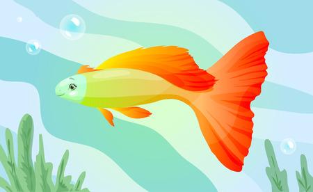 brilliant   undersea: orange cartoon fish, vector illustration in watercolor style