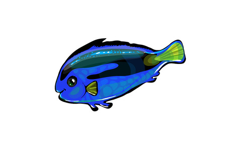 moorish idol: Vector  neon blue fish in the sea. Glowing cartoon funny fish isolated on white