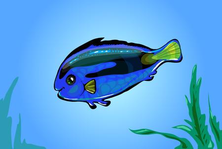 Vector  neon blue fish in the sea. Glowing cartoon funny fish Illustration