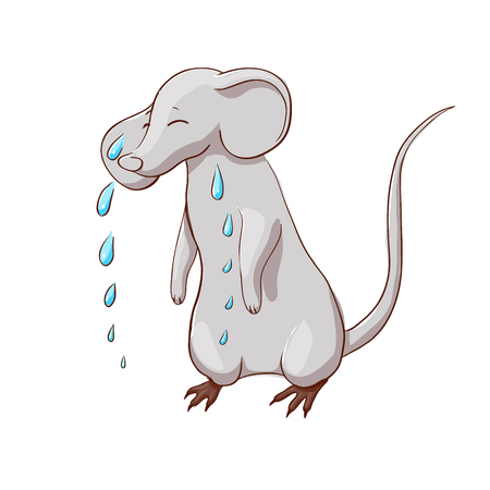 sad crying mouse, vector illustration