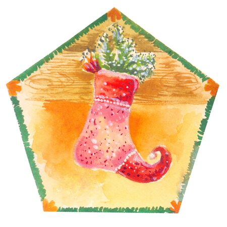 Christmas stocking illustration by watercolor