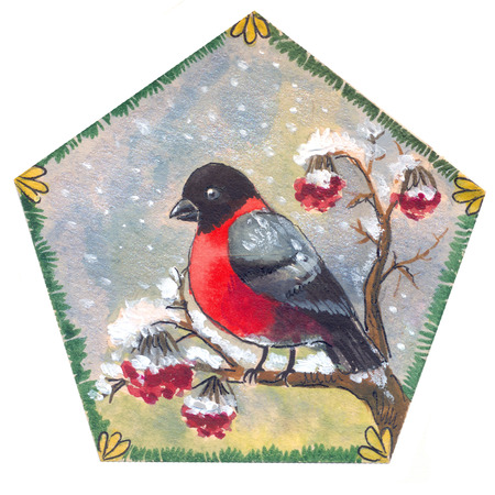 a sprig: Cristmas bullfinch illustration, postcard, red bird on  a sprig of mountain ash