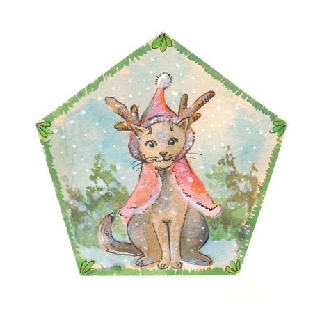 cristmas: Cute cat in cristmas clothes, suit for sticker, postcard, childish goods.