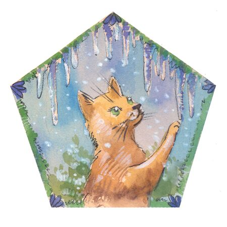 cristmas: Cute cristmas cat with icicles