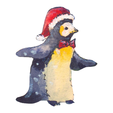 Funny penguin watercolor, hand made illustration, isolated Stock Photo