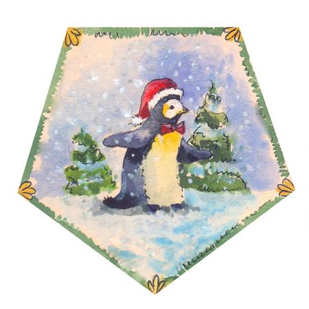 Funny penguin watercolor, suitable for sticker, postcard, etc.