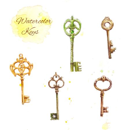 door lock love: Set of watercolor keys, vintage drawing of five keys