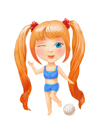 red haired: Cartoon little girl illustration. Chibi drawing. Anime children isolated. Cute girl with long pigtails in sportswear with ball. Character winks. Stock Photo