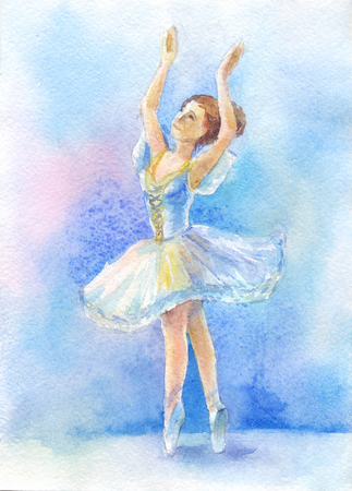dancer in blue tutu on watercolor background