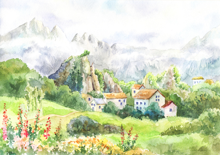 Watercolor landscape with mountains, meadow, village.Cool day in the Alps. Painting suit for wallpaper, background, poster. Artwork. Mountain Fog. Tour to Switzerland. Sketch, picture for a calendar.