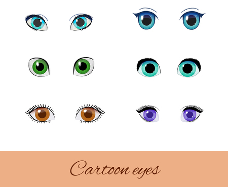 Set of cartoon eyes. Collection of vector different eyes. Green, blue, brown and purple peepers isolated on white. Vectores