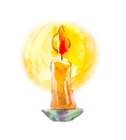 Candle in watercolor. Mystical image. Divination, the symbol of life. Isolated on white Archivio Fotografico