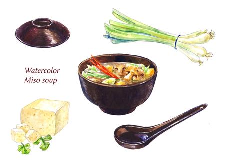 Conjunto de Miso sup. Ilustraciones acuarela aislados en blanco. Foto de archivo - 75479320