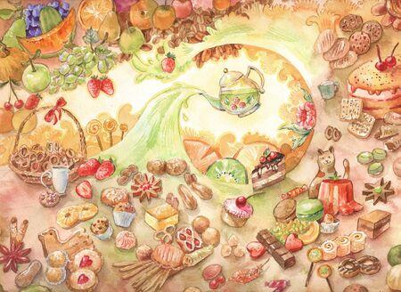 수채화 사탕 그림입니다. 많은 종류의 과자. 낙서. 패스트리, 케이크, 과일 차. 아트 배경입니다. 스톡 콘텐츠