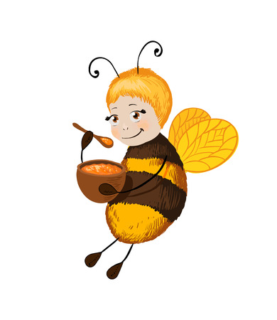 Little cute bee with honey isolated on white. Smile character suitable for packing design of sweet treats with taste of honey or sticker in the childrens locker room.