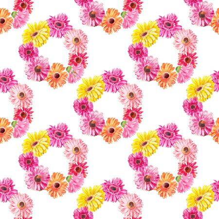 Watercolor pattern of pink flowers woven into wreaths. Texture suitable for printing on fabric, scrapbooking paper and other