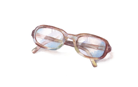 Drawing glasses on a white background,  watercolor illustration