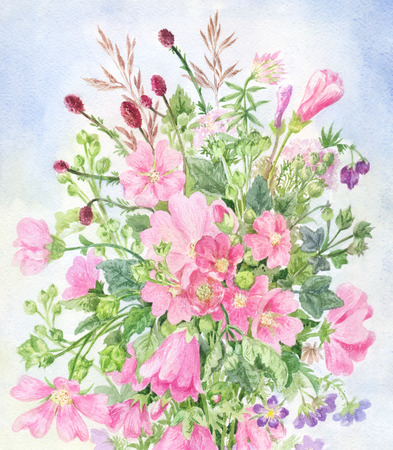 Pink wildflowers. Field bouquet with mallow, bugbear, field herbs