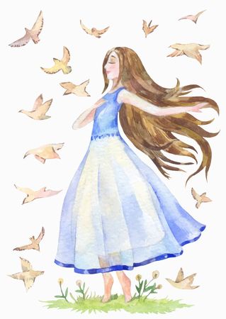nice girl in a blue transparent dress is walking barefoot and dreaming. Birds fly around. Watercolor illustration for a female magazine, blog or cover of a diary.
