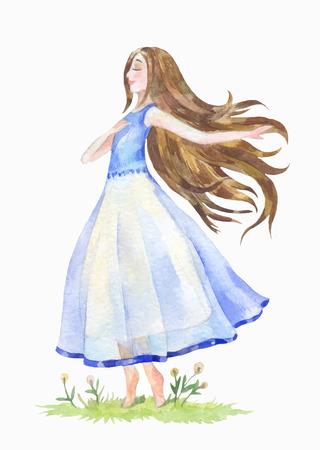 彼女の髪を持つ少女は、草に踊った。手描きの美容製品のベクトル図