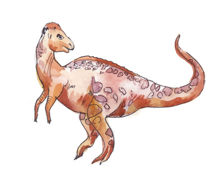 Chomalocephalus. Watercolor illustration of dinosaur isolated on white background.