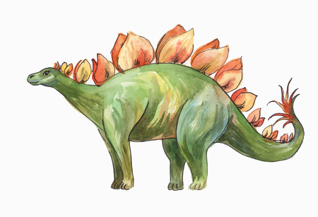 Stegosaurus. Watercolor illustration of dinosaur isolated on white background.