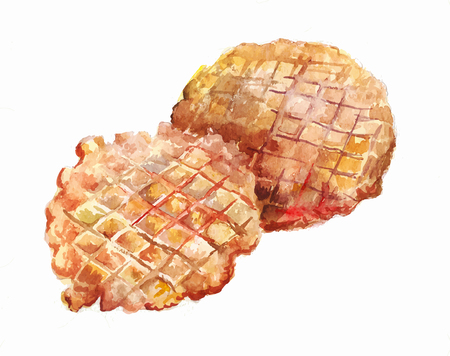 Two round wafers baked in a waffle iron. Watercolor illustration isolated on white