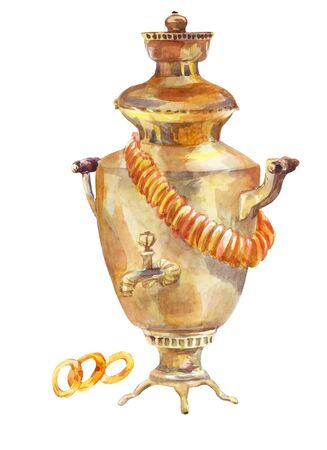Samovar with bagels. Watercolor illustration isolated on a white background.