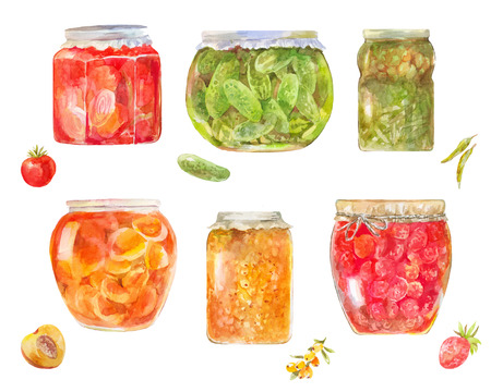 Set of canned tomatos, cucumbers, berries, peaches, sea buckthorn in jars isolated on white