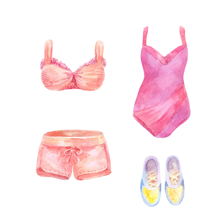 女性の夏のピンクの服。水着、ショートパンツ、ボディス、スニーカービーチウェアの水彩セット。