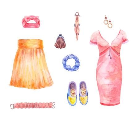 Aquarel collectie van rok, jurk, accessoires. Dameskleding set.