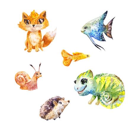 小さなかわいいエキゾチックなペットの水彩画セット。面白いキツネ、うろこ状、カタツムリ、魚、ハリネズミ、カメレオン