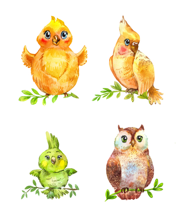 Watercolor funny little birds isolated on white. Hand drawn nestling