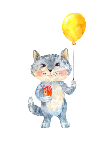 Naive childrens drawing of a gray cat with a gift and yellow balloon
