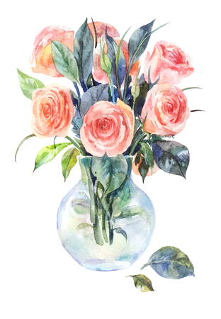 Watercolor roses in a glass vase isolated on a white background. Hand drawn pink flowers  Stock Photo