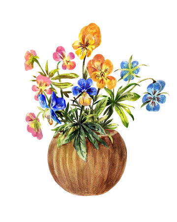 Watercolor illustration of pansies in a brown pot isolated on white