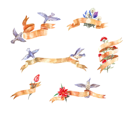 set of watercolor vintage ribbons with birds and flowers, suitable as a sign, space for text, illustrations in a diary or stickers