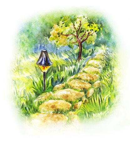 Garden stone path with lantern. Summer watercolor illustration of evening landscape