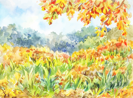 Simple autumn landscape with a meadow and orange leaves. Sunny warm day. Light picture suitable as a background for a postcard, poster or book  イラスト・ベクター素材