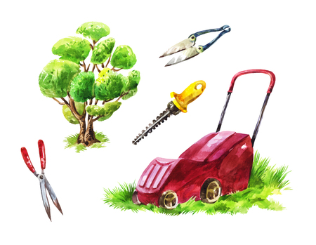 Gardeners tools for mowing the lawn, cutting shrubs and trees, for yard maintenance and landscaping
