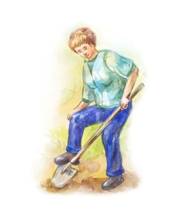 Old woman or grandmother in garden clothes digs a bed for seeding of seeds.  gardening illustration