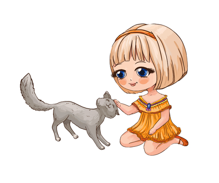 Little chibi girl stroking a cat. Cute anime illustration suitable for print on children's schoolbag, pencil case or T-shirt. Funny character for sticker or label Reklamní fotografie - 109217336