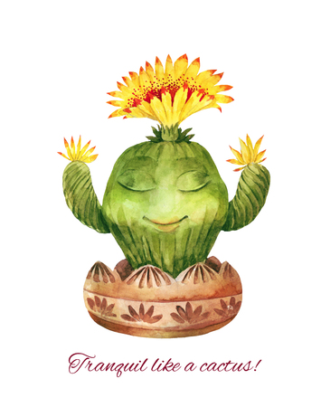 Calm as a cactus! Conceptual illustration on the theme of yoga, meditation, visualization. Funny painted blooming succulent