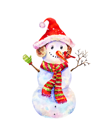Christmas illustration with watercolor snowman with red winter bird on his nose. Funny vintage poatcard