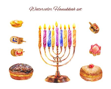 Set of Hanukkah candles, sevivons, bakery isolated on white. Watercolor illustration Illustration